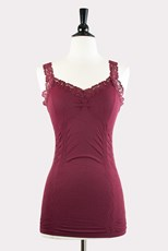 M.Rena Corset Cami with Lace in Burgundy